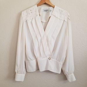 Vtg Collections by Josephine Ivory Wrap Blouse
